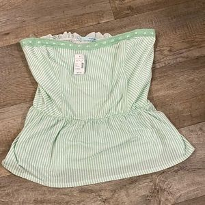 New Women's Size XL Maurices Tube Top.Green Stripe